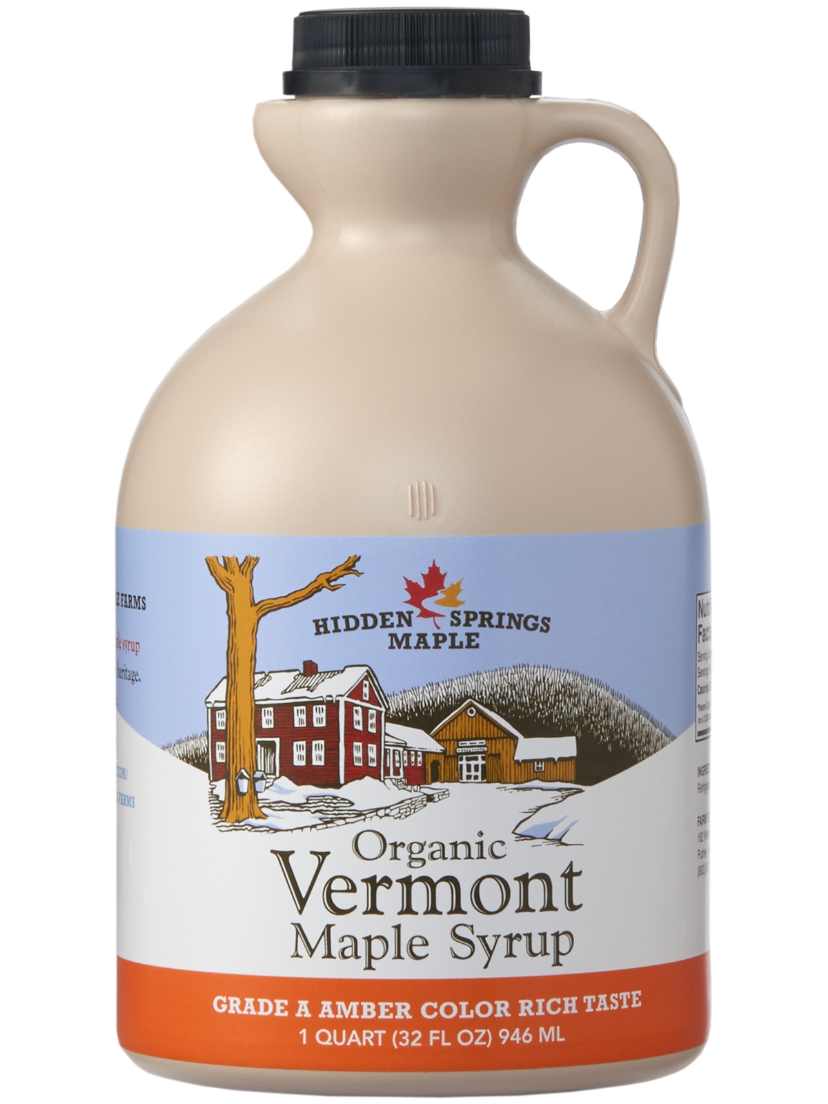 Plastic Jug, Organic Maple Syrup (Quart, Amber Rich)