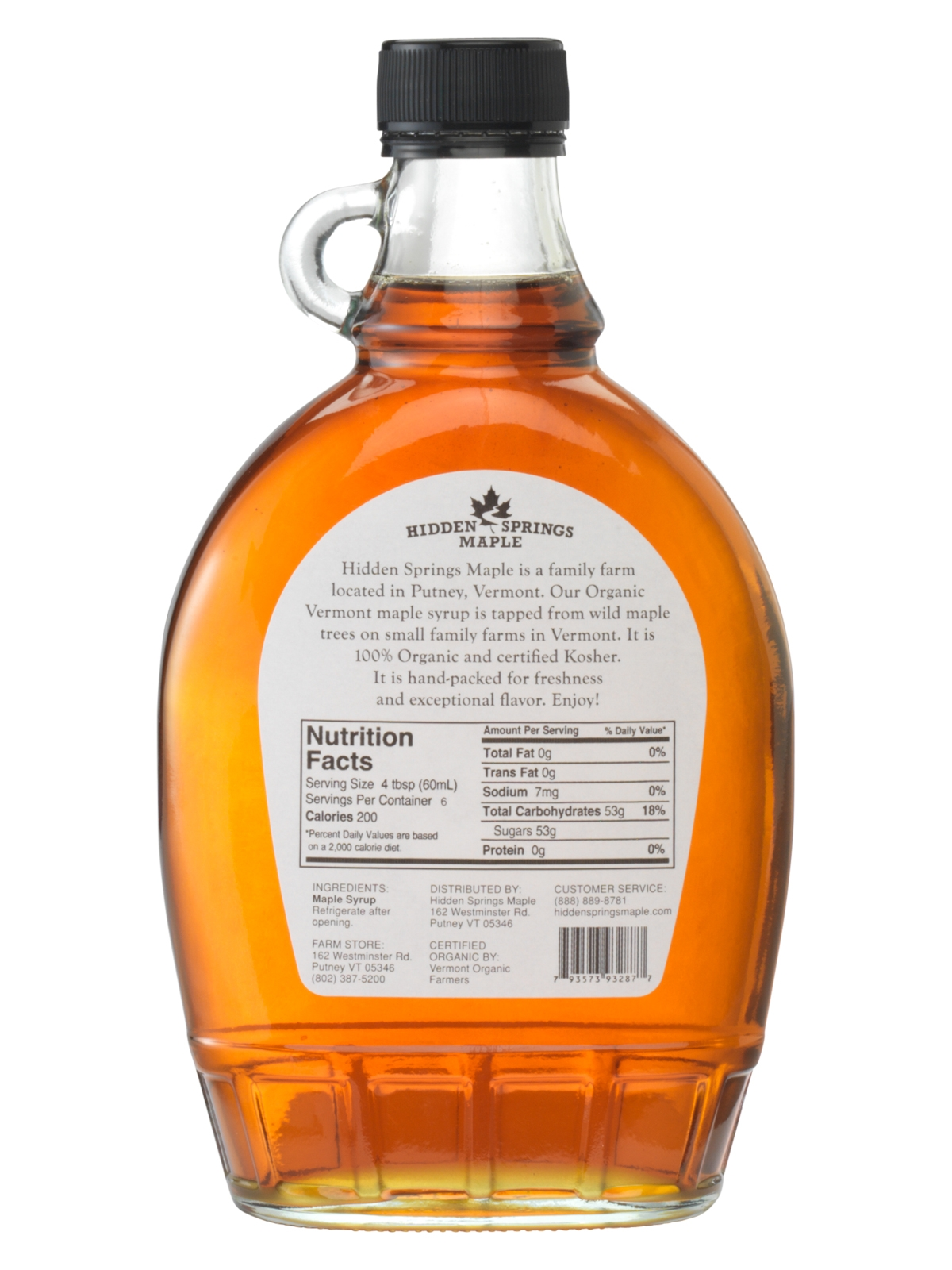 Glass Bottle Organic Maple Syrup Hidden Springs Maple