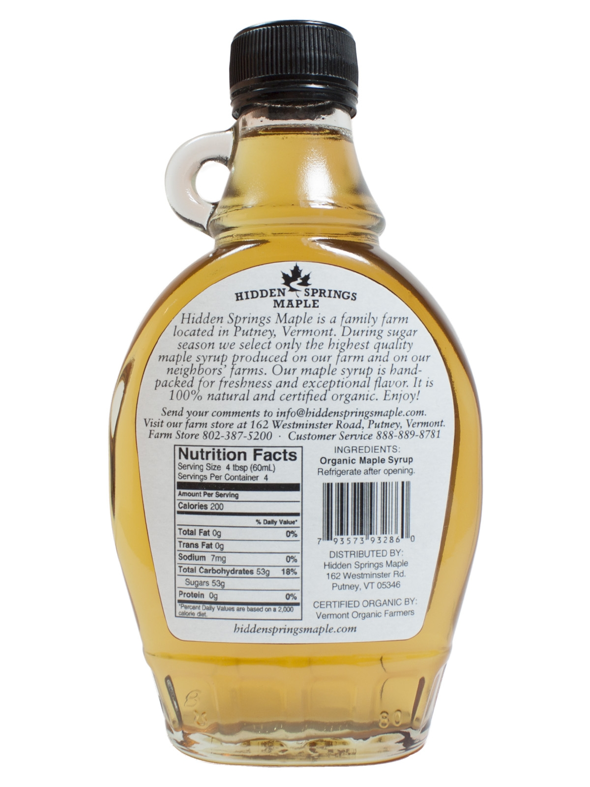 Glass Bottle Organic Maple Syrup Hidden Springs Maple
