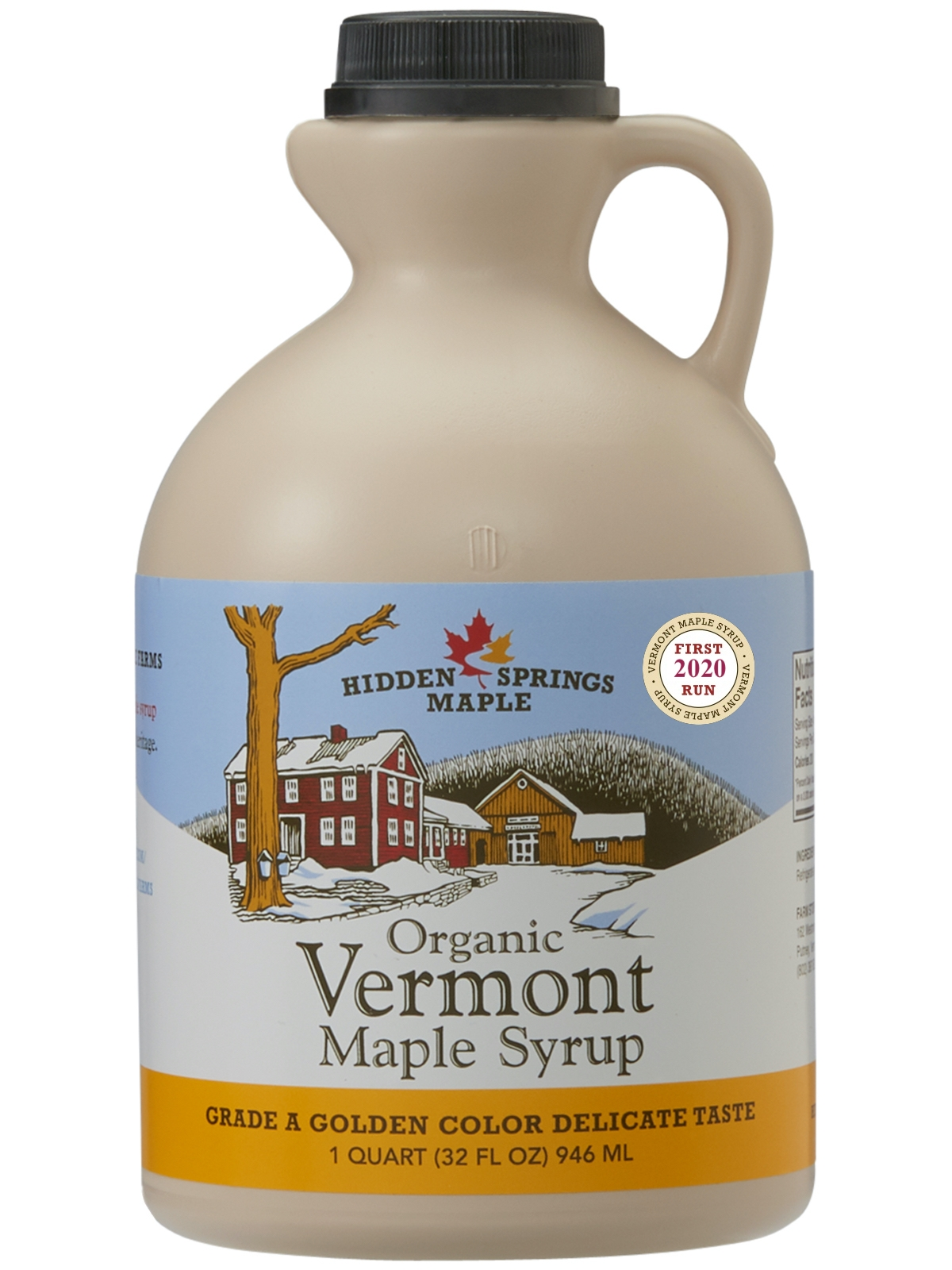 2020 First Run Organic Maple Syrup (Quart,  Golden Delicate)