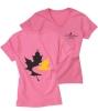 Women's V-Neck T Shirt - Bright Pink (Small)