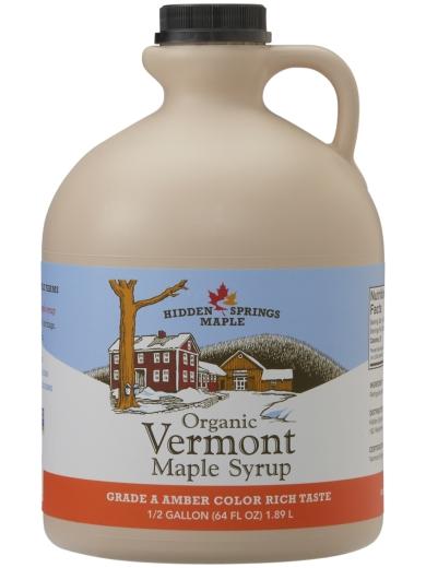 Plastic Jug, Organic Maple Syrup (Half gallon, Amber Rich)