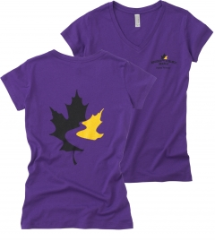 Women's V-Neck T Shirt - Purple (Small)