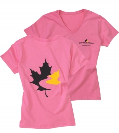 Women's V-Neck T Shirt - Bright Pink (Small)
