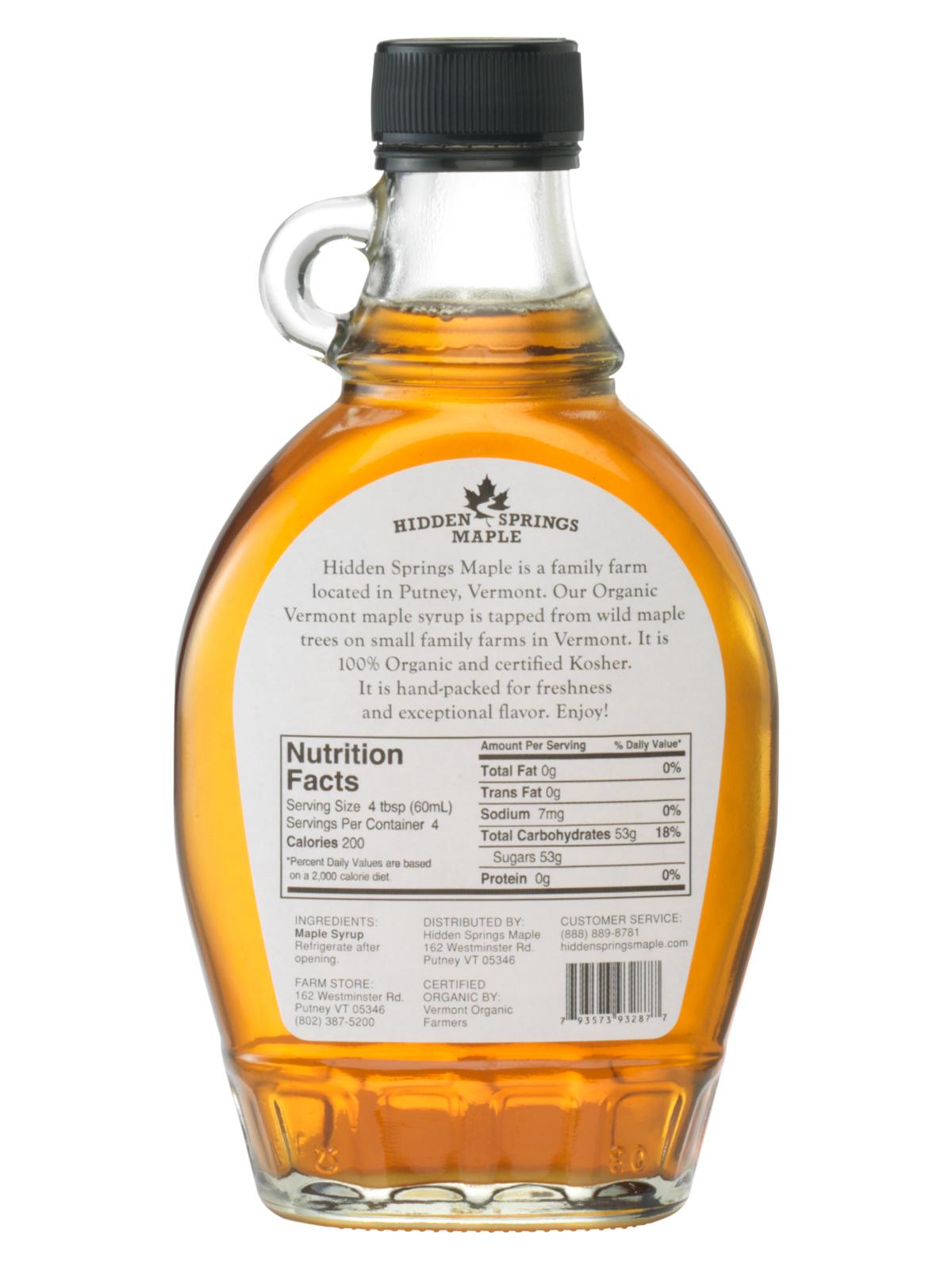 Glass Bottle Organic Syrup   Hidden Springs Maple